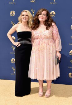 LOS ANGELES, CA - SEPTEMBER 17: Kate McKinnon (L) and Aidy Bryant attend the 70th Emmy Awards at Microsoft Theater on September 17, 2018 in Los Angeles, California. (Photo by John Shearer/Getty Images)