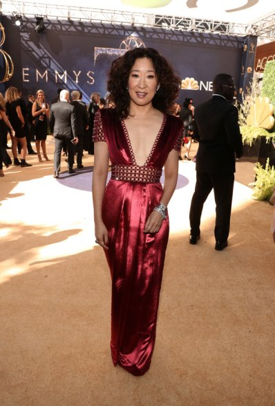LOS ANGELES, CA - SEPTEMBER 17: 70th ANNUAL PRIMETIME EMMY AWARDS -- Pictured: Actor Sandra Oh arrives to the 70th Annual Primetime Emmy Awards held at the Microsoft Theater on September 17, 2018. NUP_184218 (Photo by Todd Williamson/NBC/NBCU Photo Bank via Getty Images)